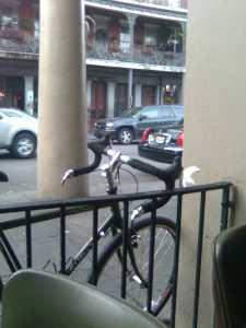 Locking My Bike at Cafe du Monde