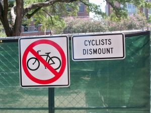 Cyclists Dismount on Tulane's Campus