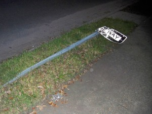 Downed One-Way Sign at S. Claiborne and Pine