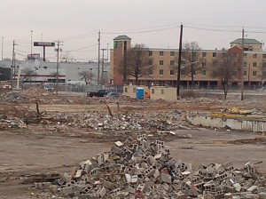 Piles of Rubble at the New Casino Site from the Gwynns Falls Trail Bridge Near Oler Street