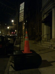 Safety Cone Atop a Downed Mailbox on St. Paul & Chase