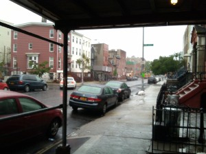 Standing Out of the Rain at Franklin & Lafayette in Bed-Stuy