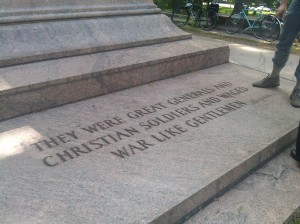 Jackson & Lee Monument Inscription at Art Museum Drive and Wyman Park Drive