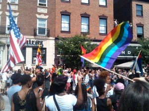 Crowds in Mount Vernon for Pride on Charles Just North of Eager