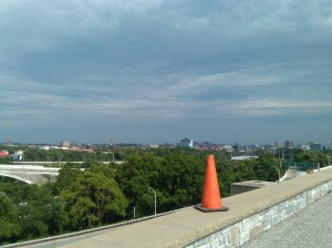 Safety Cone Overlooking Northwest Baltimore From Druid Hill Park