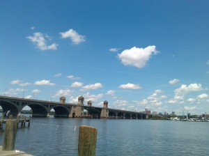 View of the Hanover Street Bridge From a Pier on the Gwynns Falls Trail