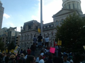 Protesters Gathered at City Hall