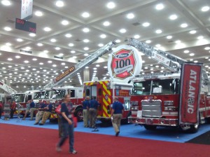 Fire Trucks on Display at the Baltimore Convention Center on Pratt Street