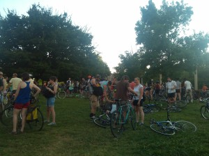 Crowds Gathered for Bike PArty at Pearlstone Park at Preston & Cathedral