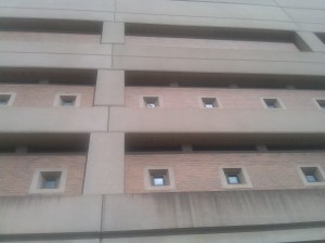 Looking Up at the Side of Baltimore Central Booking and Intake Center at Fallsway & Madison