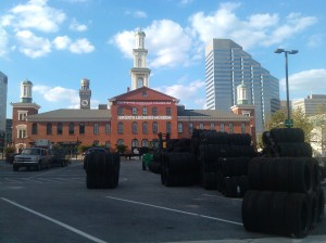 Piles of Tires in the Parking Lot of the Sports Legends Musuem/Camden Yards at Howard & Camden