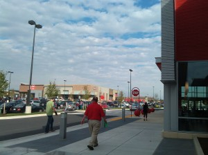Folks Heading to the New Target at Canton Crossing at the East End of Boston Street