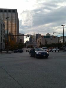 Cars Turning Left at President & E. Fayette