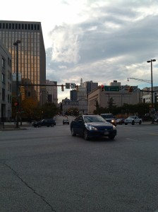 Cars Turning Left at President & E. Fayette