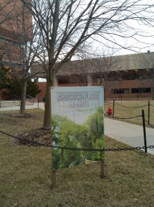Smoke-Free UMBC Sign on Academic Row