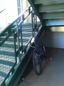 Bike Locked Up Under the Halethorpe MARC Station Stairs