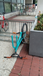 Missing Front Wheel From a Bike at Lombard & Greene