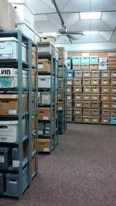 Archival Stacks in the Basement of the UB Learning Commons at Maryland & Mt. Royal
