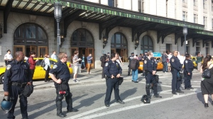 Cops Blocking Entrance to Penn Station in Station North