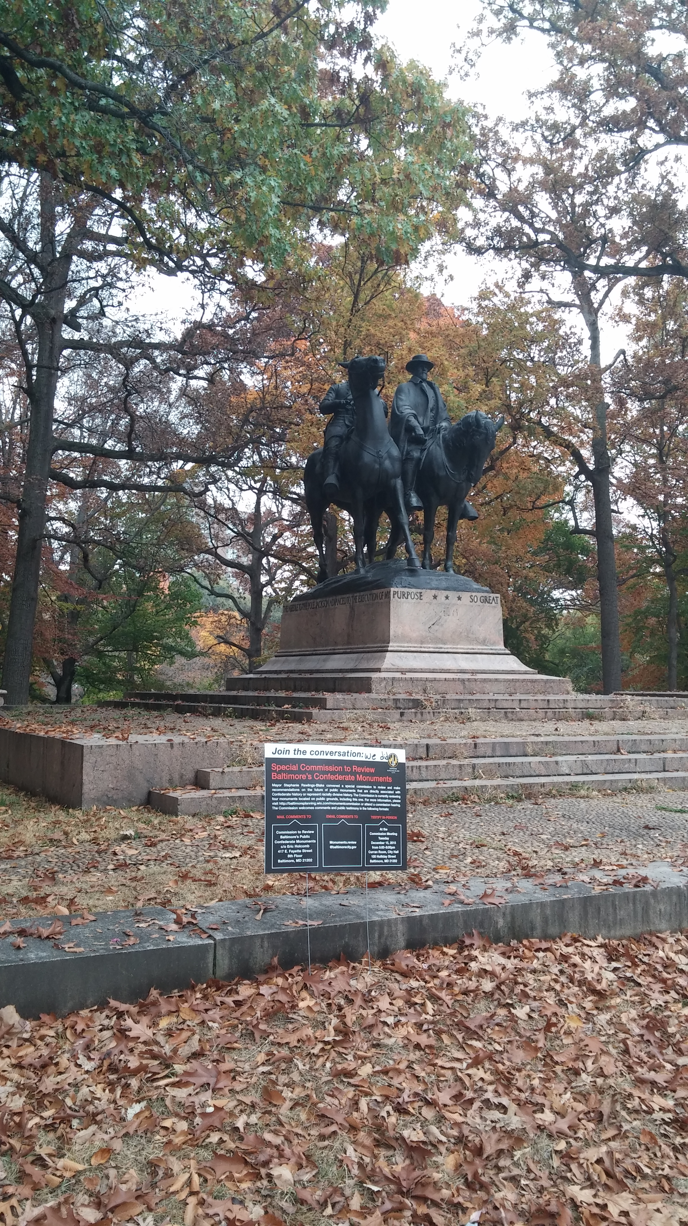 the lee jacksons monument Baltimore activists celebrate: the confederacy gets more dead every day beside a monument to lee and jackson that a city panel has recommended for removal, civil rights activists declare victory.