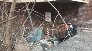 Trash Under the Overpass at Eager & Fallsway