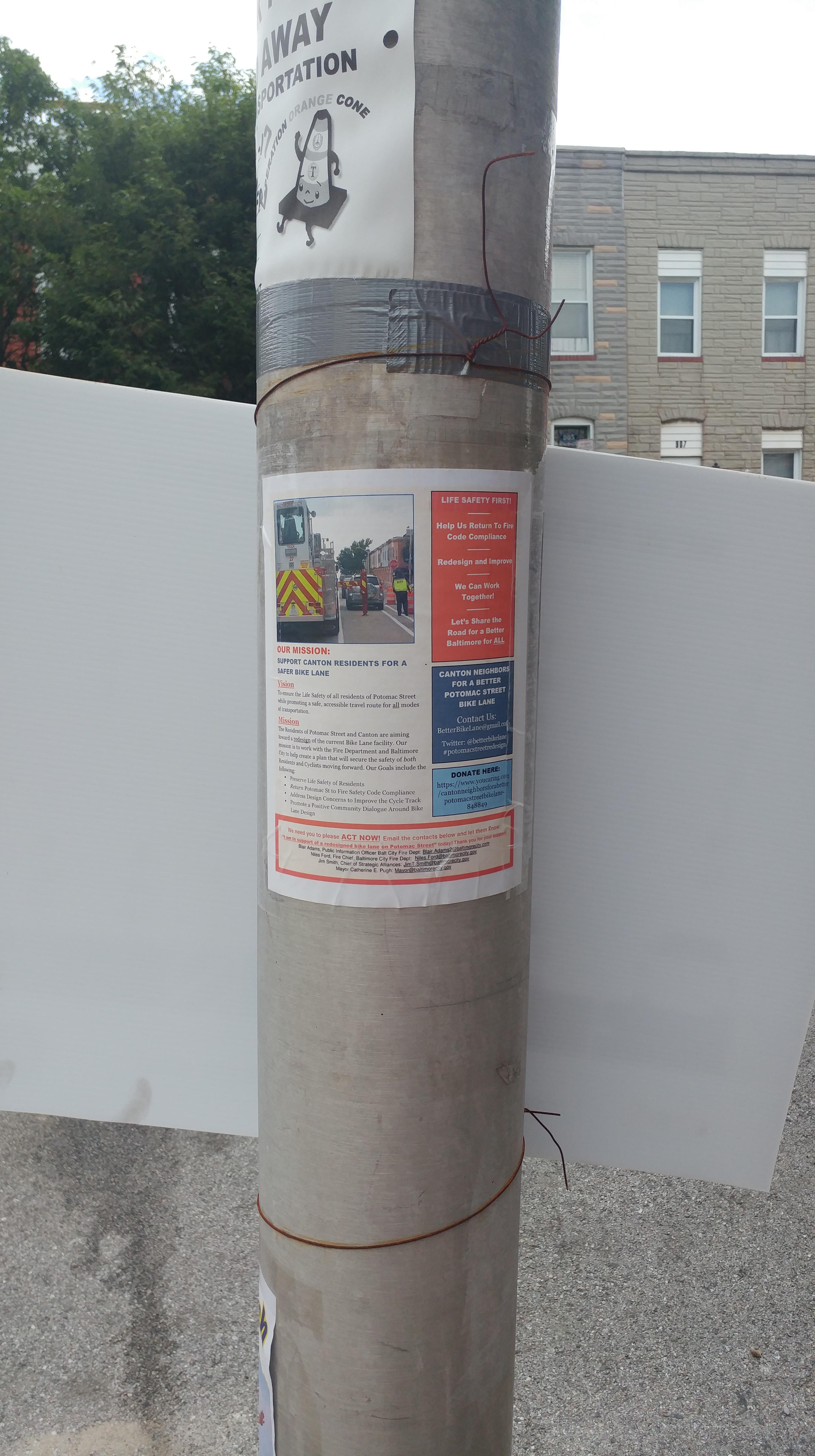 Canton Neighbors For A Better Potomac Street Bike Lane Sign Near ...
