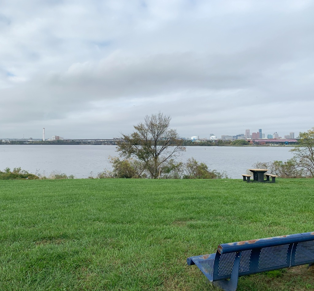 A blue park bench is in the foreground, set against green grass and a picnic table and tree in the middle of the picture. The sky is cloudy and the water of the Middle Branch of the Patapsco River is steel gray.
